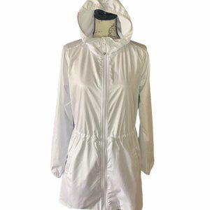 👗👖Gaiam White Anorak High-Low Hooded Jacket sz S